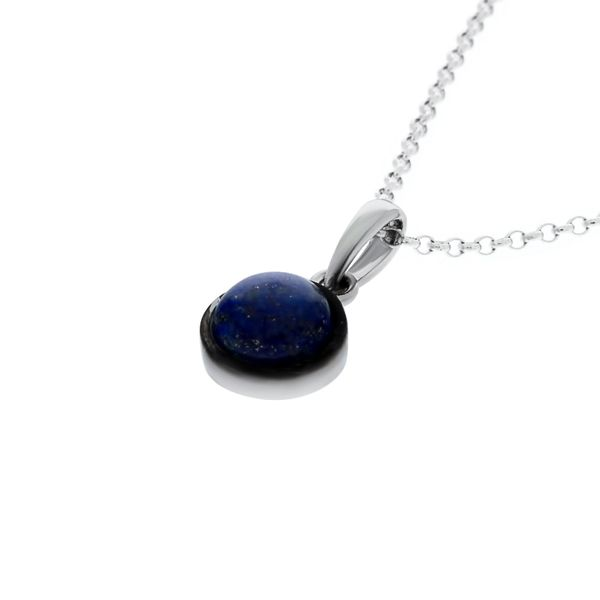 Silver Round Lapis Lazuli Pendant Image 2 Georgies Fine Jewellery Narooma, New South Wales
