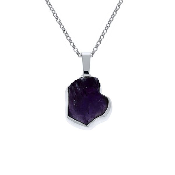 Silver Rough Amethyst Pendant Georgies Fine Jewellery Narooma, New South Wales