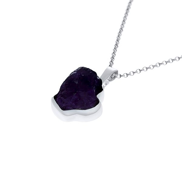 Silver Rough Amethyst Pendant Image 2 Georgies Fine Jewellery Narooma, New South Wales