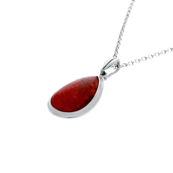 Silver Pear Shaped Red Dyed Turquoise Pendant Image 2 Georgies Fine Jewellery Narooma, New South Wales