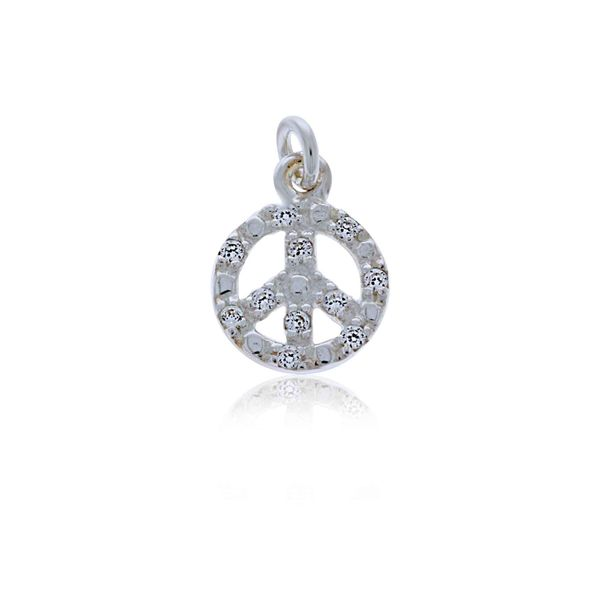 Mojo Silver CZ Peace Sign Charm Georgies Fine Jewellery Narooma, New South Wales