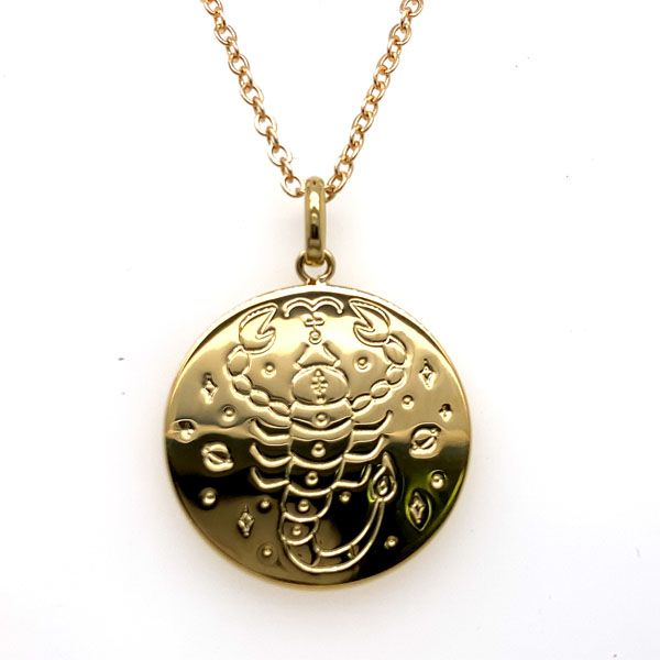 Mojo 18Ct 3 Micron Gold Plated Brass Polished Disc Zodiac Pendant - Scorpio Georgies Fine Jewellery Narooma, New South Wales