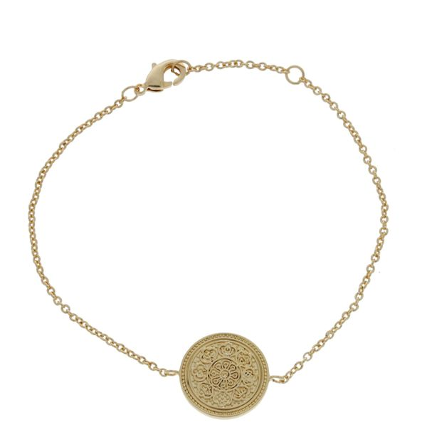 Onatah Mojo 18Ct 3 Micron Gold Plated Brass Chain Bracelet Featuring Polished Disc With Filigree Engraving Image 2 Georgies Fine Jewellery Narooma, New South Wales