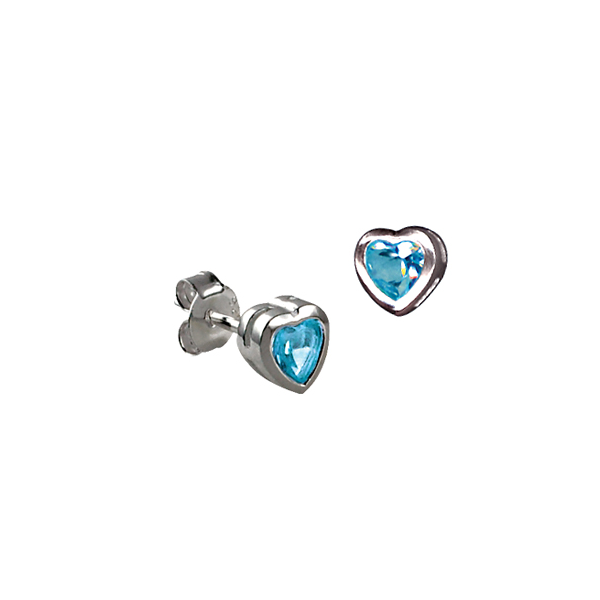 Sterling Silver Blue Cz Heart Bezel Stud Earrings Georgies Fine Jewellery Narooma, New South Wales