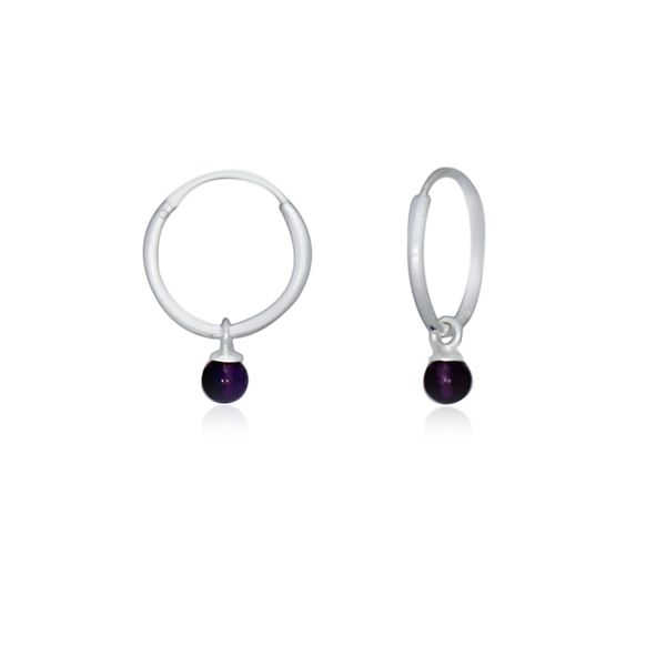 Silver Hoop Earrings With Amethyst Georgies Fine Jewellery Narooma, New South Wales