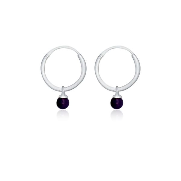 Silver Hoop Earrings With Amethyst Image 2 Georgies Fine Jewellery Narooma, New South Wales