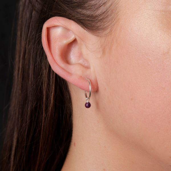 Silver Hoop Earrings With Amethyst Image 4 Georgies Fine Jewellery Narooma, New South Wales