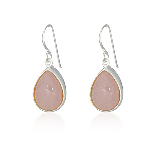 Silver Pear Shaped Rose Quartz Drop Earrings Georgies Fine Jewellery Narooma, New South Wales