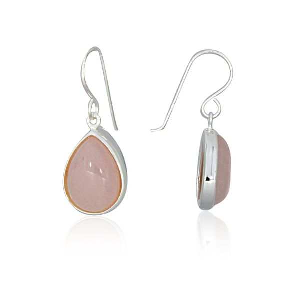 Silver Pear Shaped Rose Quartz Drop Earrings Image 2 Georgies Fine Jewellery Narooma, New South Wales