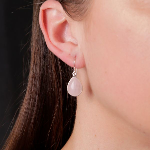 Silver Pear Shaped Rose Quartz Drop Earrings Image 4 Georgies Fine Jewellery Narooma, New South Wales