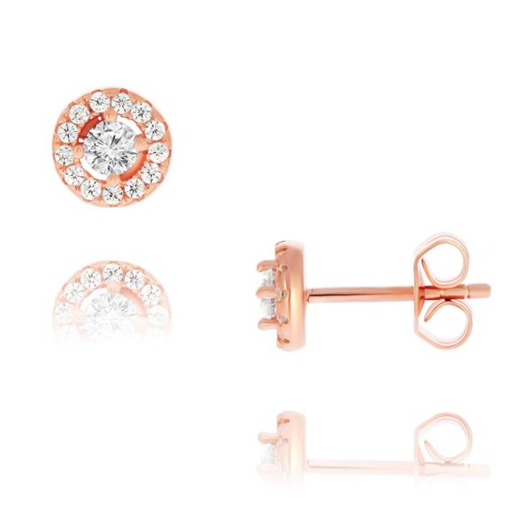 Olivia Sterling Silver Rose Gold Plated Cz Round Halo Studs Georgies Fine Jewellery Narooma, New South Wales