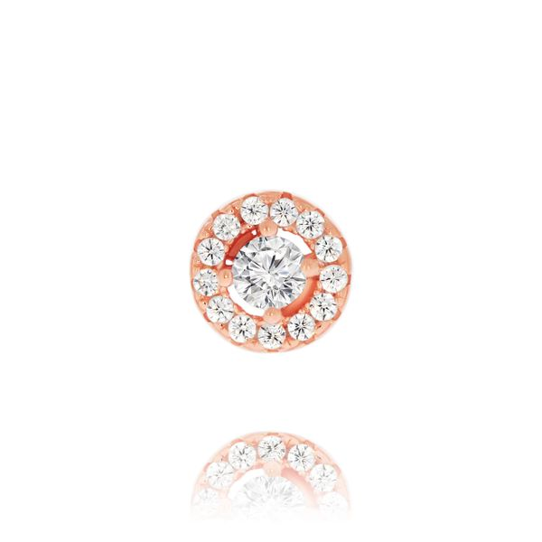 Olivia Sterling Silver Rose Gold Plated Cz Round Halo Studs Image 2 Georgies Fine Jewellery Narooma, New South Wales