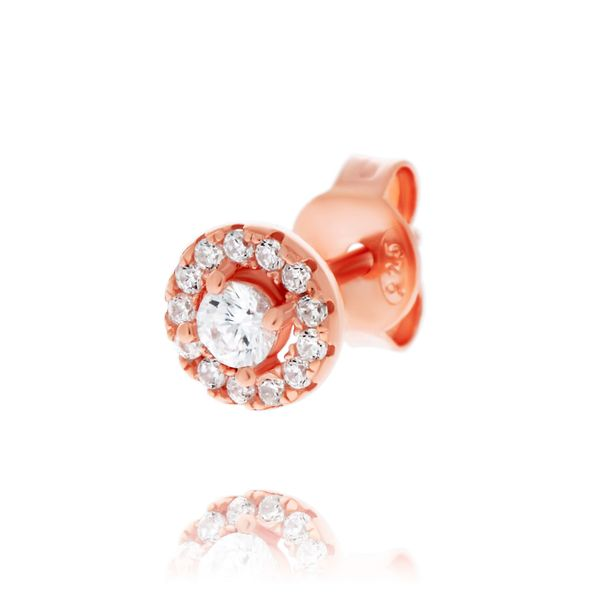 Olivia Sterling Silver Rose Gold Plated Cz Round Halo Studs Image 3 Georgies Fine Jewellery Narooma, New South Wales