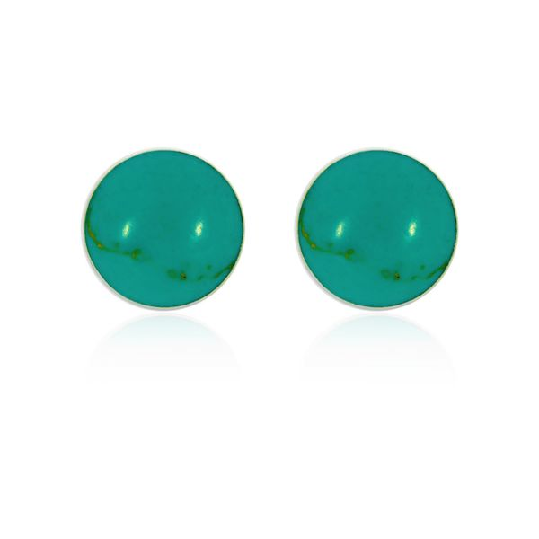 Onatah Sterling Silver Round Light Turquoise Disc Stud Earrings Georgies Fine Jewellery Narooma, New South Wales
