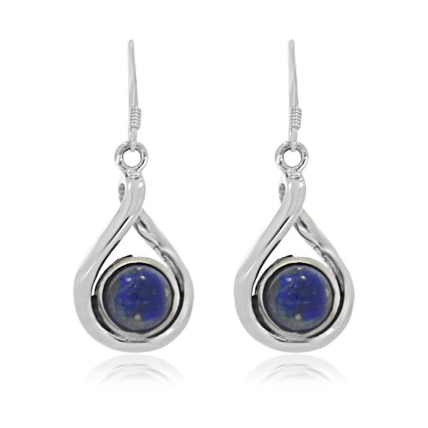 Silver Round Drop Sodalite Earrings Image 3 Georgies Fine Jewellery Narooma, New South Wales