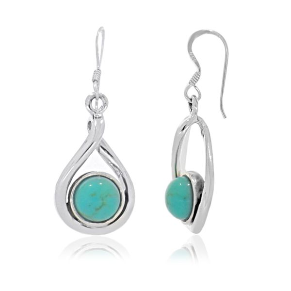 Onatah Sterling Silver Round Drop Bezel Set Turquoise Earrings Georgies Fine Jewellery Narooma, New South Wales