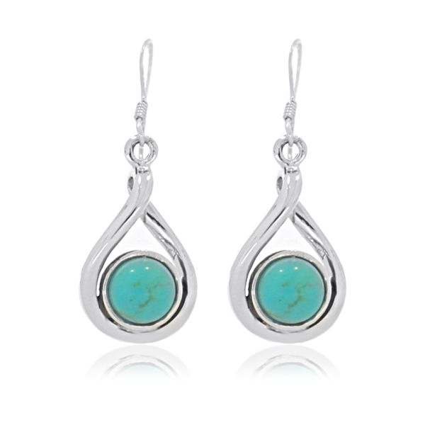 Onatah Sterling Silver Round Drop Bezel Set Turquoise Earrings Image 2 Georgies Fine Jewellery Narooma, New South Wales