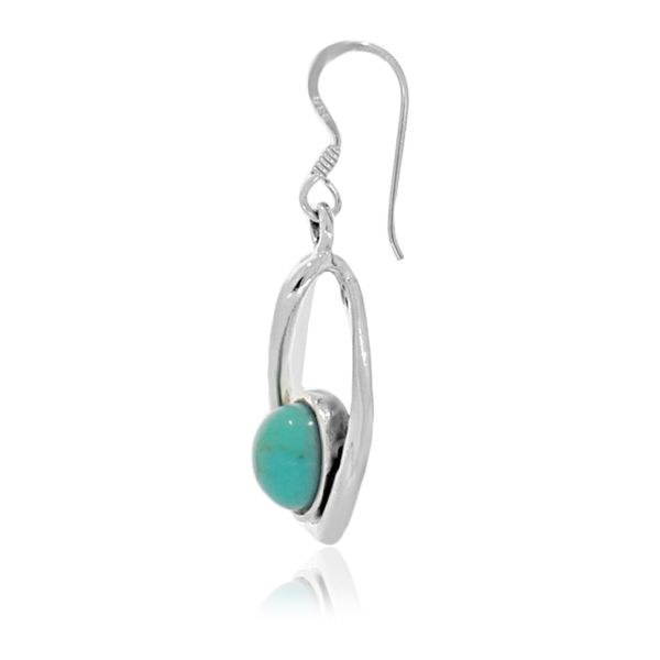 Onatah Sterling Silver Round Drop Bezel Set Turquoise Earrings Image 3 Georgies Fine Jewellery Narooma, New South Wales