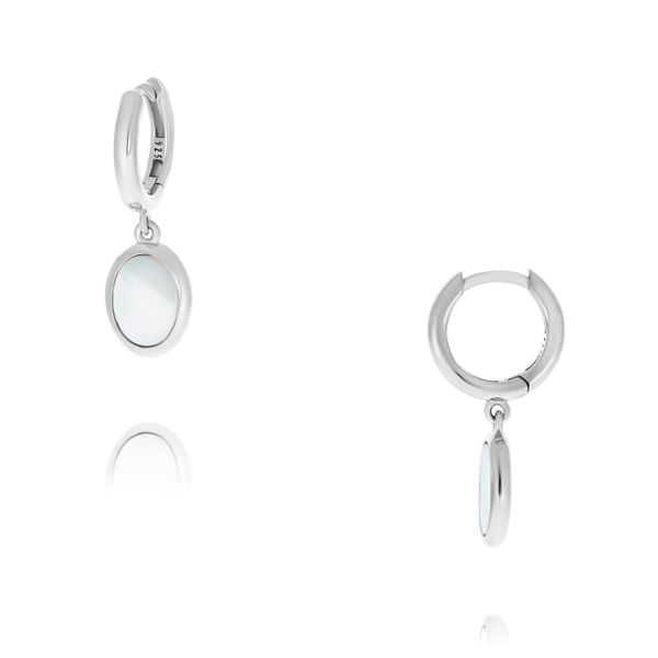 Olivia Sterling Silver Rhodium Plated Mother Of Pearl Drop Earring Image 3 Georgies Fine Jewellery Narooma, New South Wales