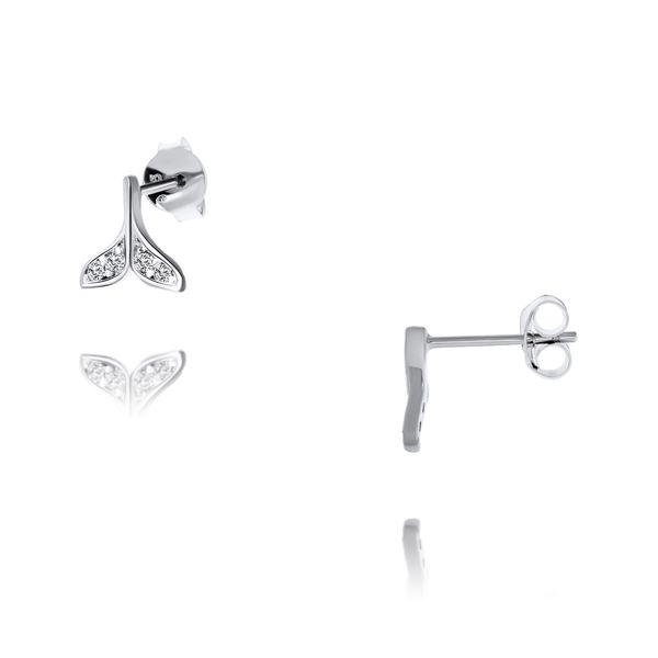 Sterling Silver Tiny Whale Tail Stud Earrings Set With Cz Georgies Fine Jewellery Narooma, New South Wales