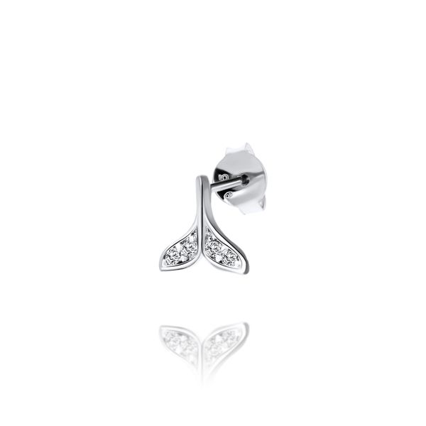Sterling Silver Tiny Whale Tail Stud Earrings Set With Cz Image 4 Georgies Fine Jewellery Narooma, New South Wales