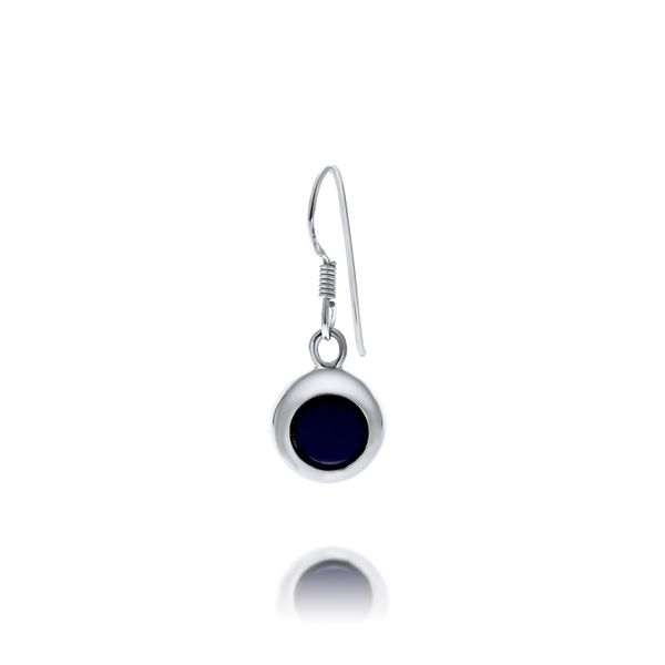 Silver Round Wide Drop Lapis Earrings Image 2 Georgies Fine Jewellery Narooma, New South Wales