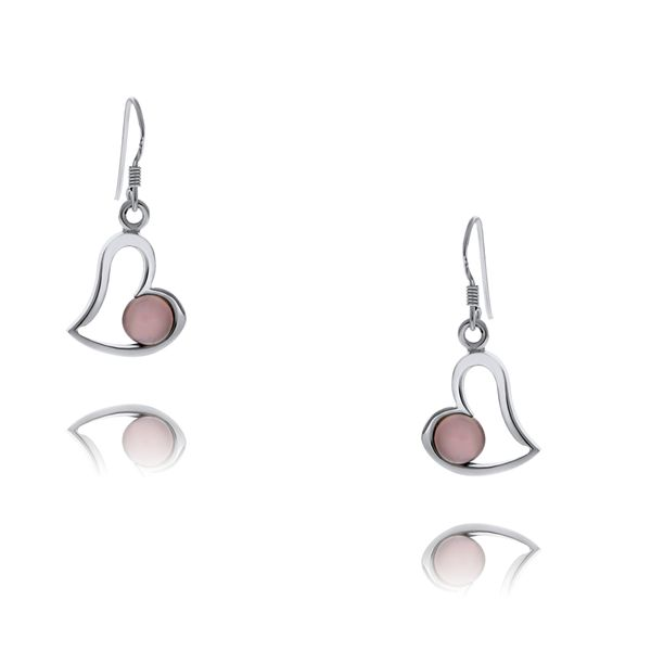 Silver Heart Drop Rose Quartz Earrings Georgies Fine Jewellery Narooma, New South Wales