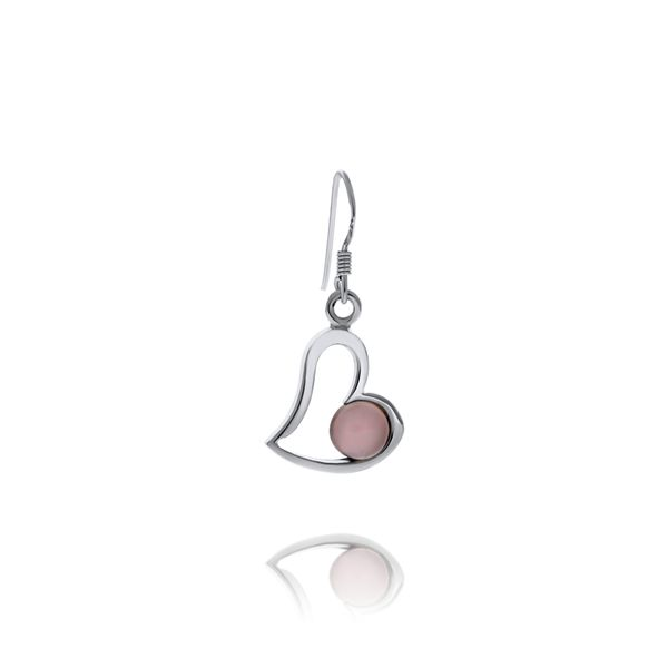 Silver Heart Drop Rose Quartz Earrings Image 3 Georgies Fine Jewellery Narooma, New South Wales