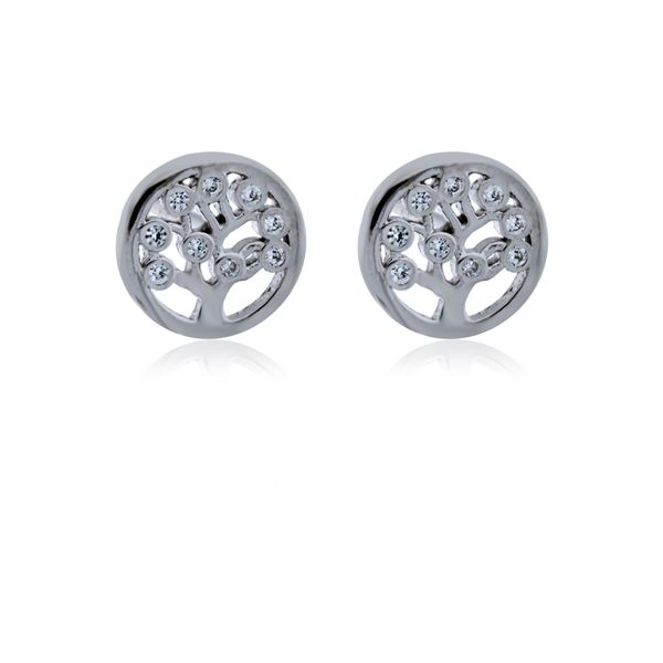 Sterling Silver Rhodium Plated Tree Of Life Cz Set Stud Earrings Image 2 Georgies Fine Jewellery Narooma, New South Wales