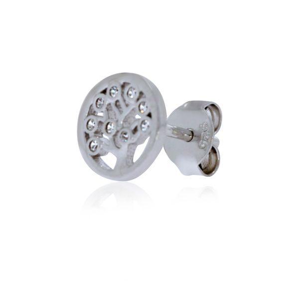 Sterling Silver Rhodium Plated Tree Of Life Cz Set Stud Earrings Image 3 Georgies Fine Jewellery Narooma, New South Wales