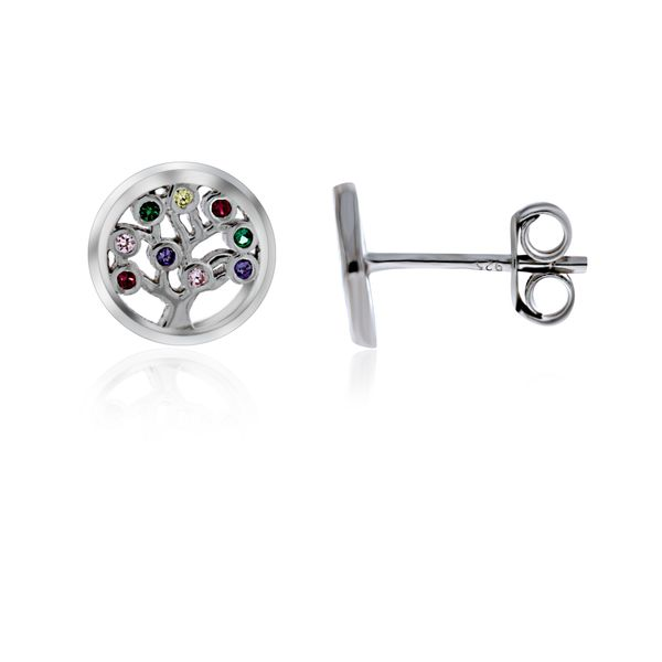 Sterling Silver Rhodium Plated Tree Of Life Multi Coloured Cz Set Stud Earrings Georgies Fine Jewellery Narooma, New South Wales