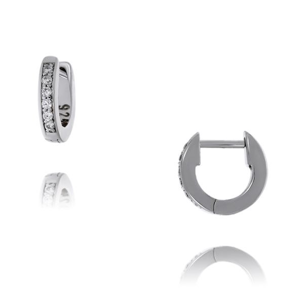 Sterling Silver Rhodium Plated Clear Cz Channel Set Mini Huggies Georgies Fine Jewellery Narooma, New South Wales