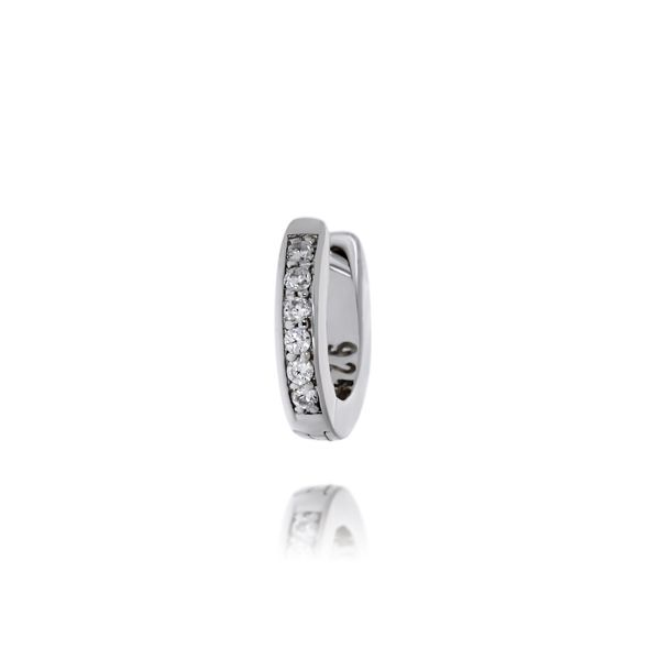 Sterling Silver Rhodium Plated Clear Cz Channel Set Mini Huggies Image 2 Georgies Fine Jewellery Narooma, New South Wales