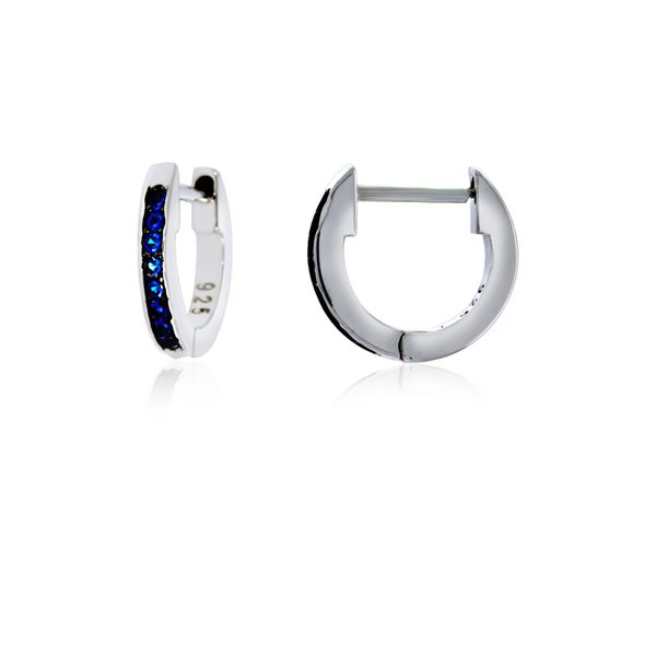 Sterling Silver Rhodium Plated Dark Blue Cz Channel Set Small Huggies Georgies Fine Jewellery Narooma, New South Wales