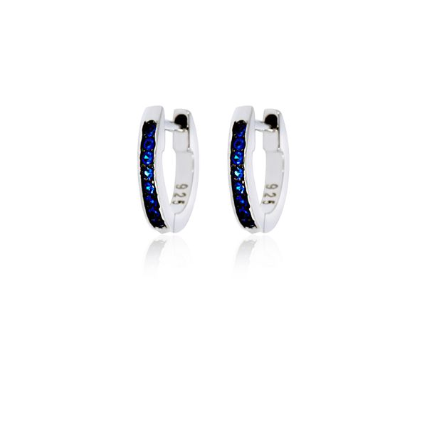 Sterling Silver Rhodium Plated Dark Blue Cz Channel Set Small Huggies Image 3 Georgies Fine Jewellery Narooma, New South Wales