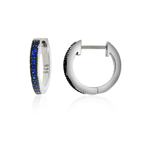 Sterling Silver Rhodium Plated Dark Blue Cz Channel Set Medium Huggies Georgies Fine Jewellery Narooma, New South Wales
