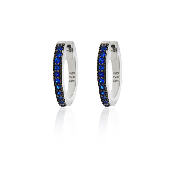 Sterling Silver Rhodium Plated Dark Blue Cz Channel Set Medium Huggies Image 2 Georgies Fine Jewellery Narooma, New South Wales