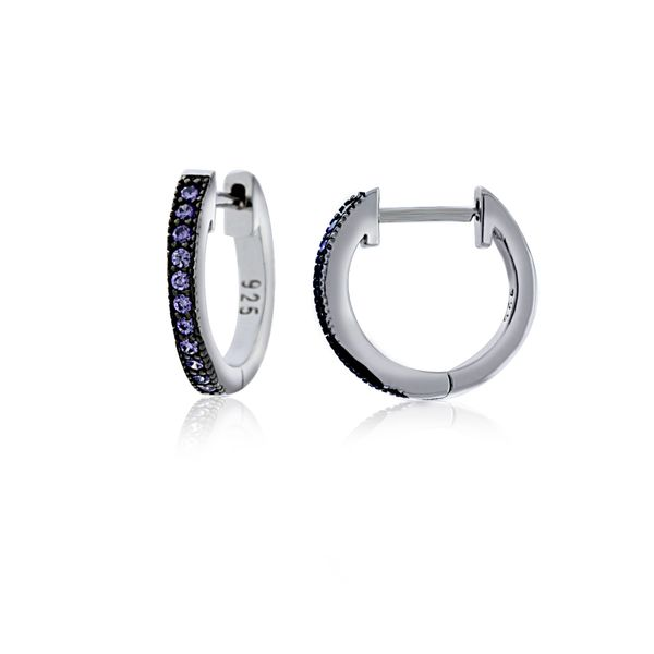 Sterling Silver Rhodium Plated Purple Cz Channel Set Medium Huggies Georgies Fine Jewellery Narooma, New South Wales