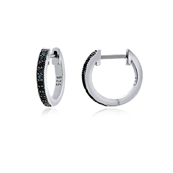 Sterling Silver Rhodium Plated Black Cz Channel Set Medium Huggies Georgies Fine Jewellery Narooma, New South Wales