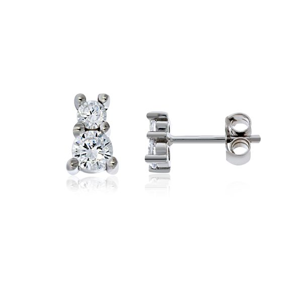 Olivia Sterling Silver Rhodium Plated Two Cz Set Stud Earrings Georgies Fine Jewellery Narooma, New South Wales