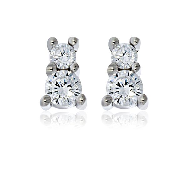 Olivia Sterling Silver Rhodium Plated Two Cz Set Stud Earrings Image 2 Georgies Fine Jewellery Narooma, New South Wales