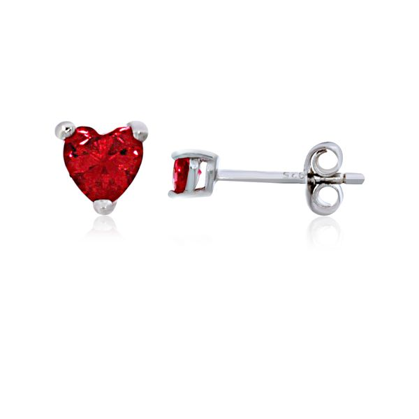 Olivia Sterling Silver Rhodium Plated Dark Pink Mini Heart Cz Stud Earrings Georgies Fine Jewellery Narooma, New South Wales