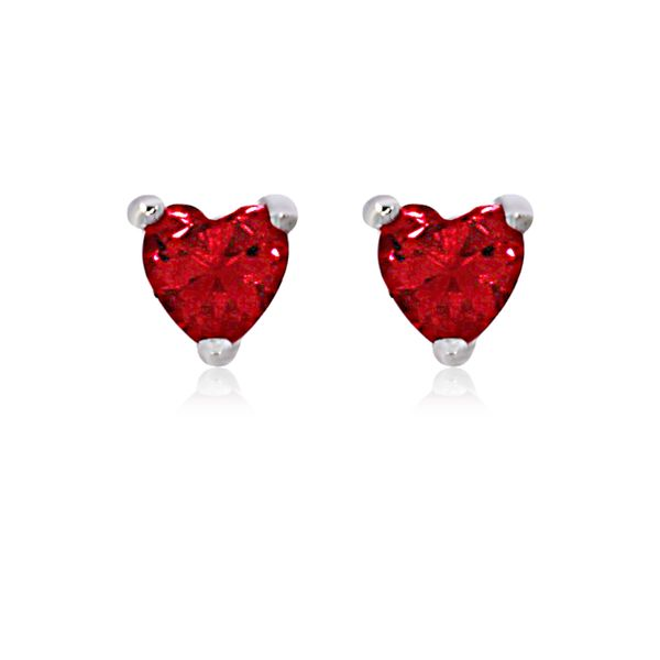 Olivia Sterling Silver Rhodium Plated Dark Pink Mini Heart Cz Stud Earrings Image 3 Georgies Fine Jewellery Narooma, New South Wales