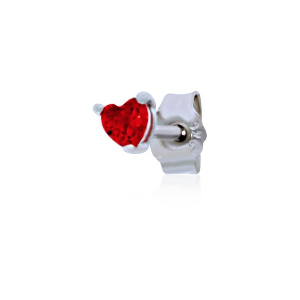 Olivia Sterling Silver Rhodium Plated Dark Pink Mini Heart Cz Stud Earrings Image 4 Georgies Fine Jewellery Narooma, New South Wales