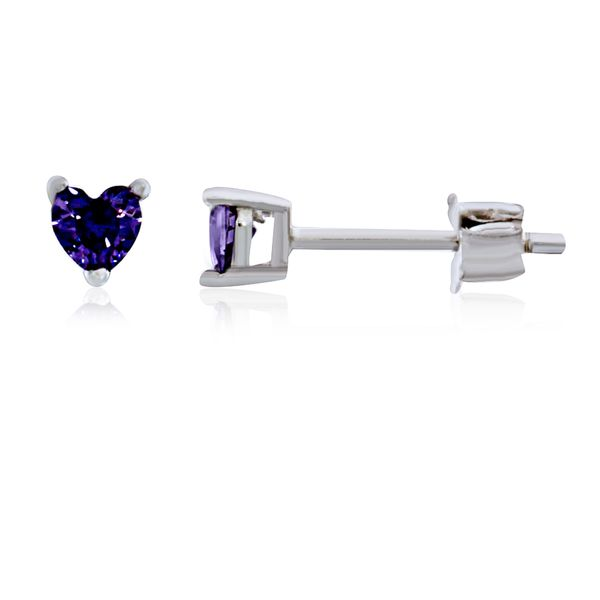 Olivia Sterling Silver Rhodium Plated Purple Mini Heart Cz Stud Earrings Georgies Fine Jewellery Narooma, New South Wales