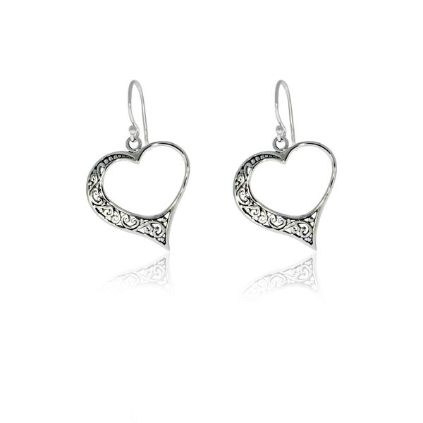 Onatah Sterling Silver Filigree Open Heart Drop Earrings Image 2 Georgies Fine Jewellery Narooma, New South Wales