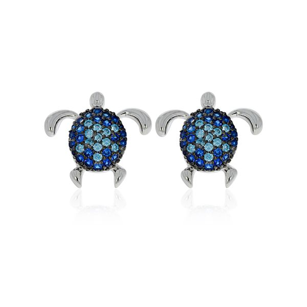 Sterling Silver Rhodium Plated Blue Cz Set Turtle Stud Earrings Image 2 Georgies Fine Jewellery Narooma, New South Wales