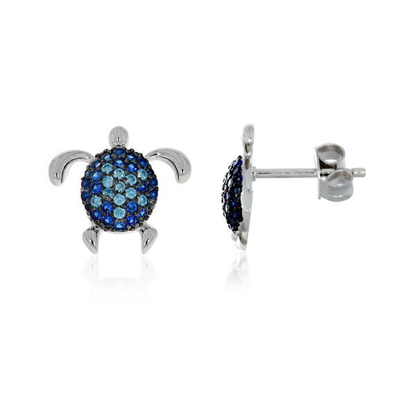 Sterling Silver Rhodium Plated Blue Cz Set Turtle Stud Earrings Image 3 Georgies Fine Jewellery Narooma, New South Wales