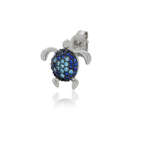 Sterling Silver Rhodium Plated Blue Cz Set Turtle Stud Earrings Image 4 Georgies Fine Jewellery Narooma, New South Wales