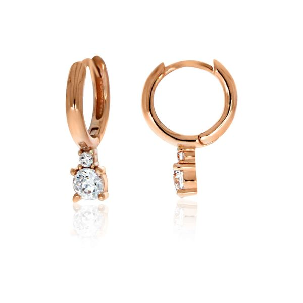 Olivia Sterling Silver Rose Gold Plated Round Huggie With Drop Cz Earrings Georgies Fine Jewellery Narooma, New South Wales
